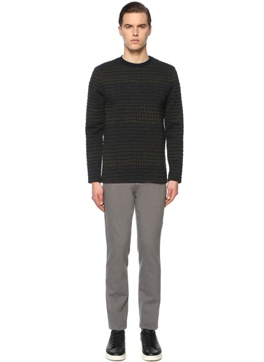 George Hogg George Hogg 7003940 Jakarlı Slim Fit Siyah Sweatshirt Erkek Sweatshirt Lacivert